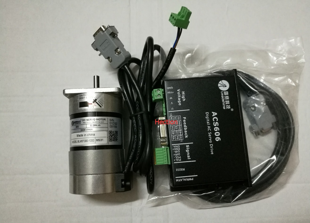 New Leadshine 90W Brushless servo drive ACS606 and Brushless motor BLM57090 -1000 Engine a set work 24VDC speed 3000RPM 0.87NM 100w new leadshine closed loop system a servo drive hbs507 and 3 phase servo motor 573hbm10 1000 with a cable a set cnc part