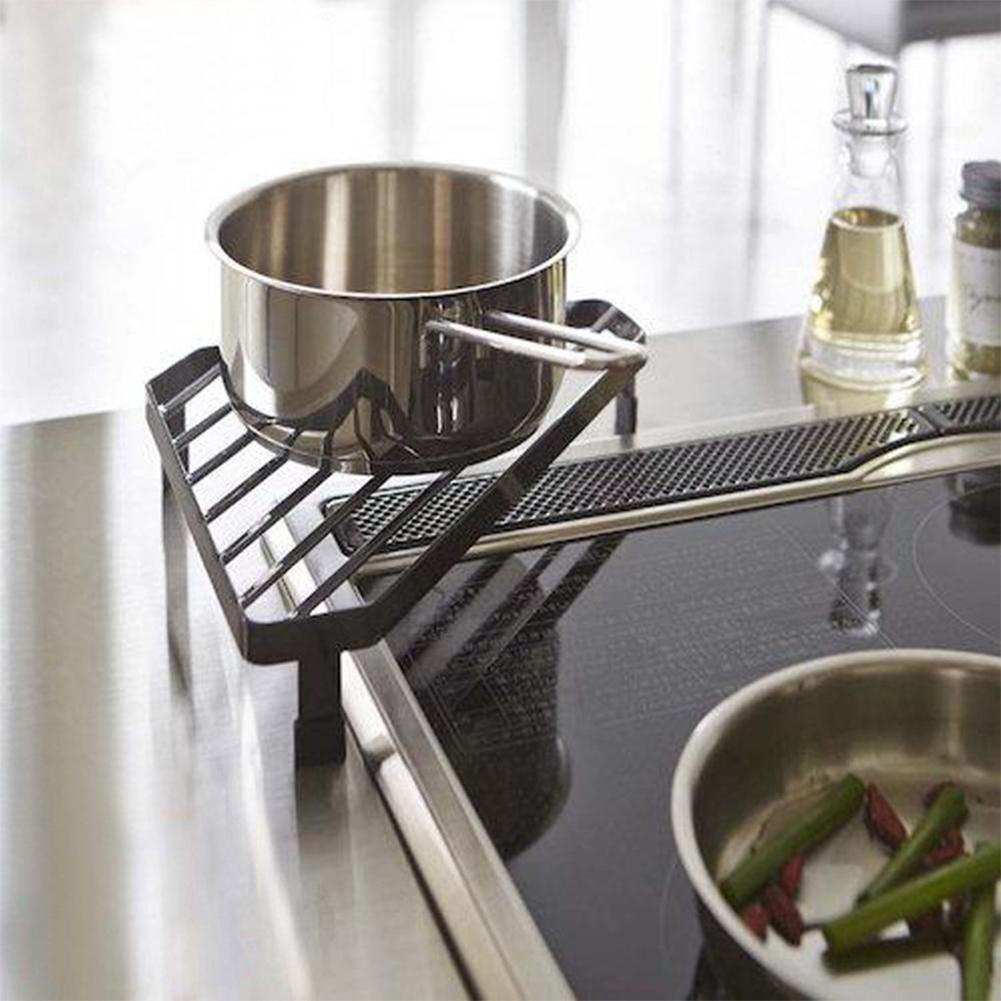 Black White Tabletop Tripod Storage Rack Kitchen Seasoning Pot Organizer Single Layer Wrought Iron Condiment Holder Shelf