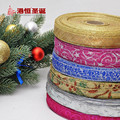 "(10yards /lot) 7/8""(25mm) Gold Silver Printed Ribbons Christmas Tree Decor Organza Ribbon Christmas Gift Wrapping Riband"