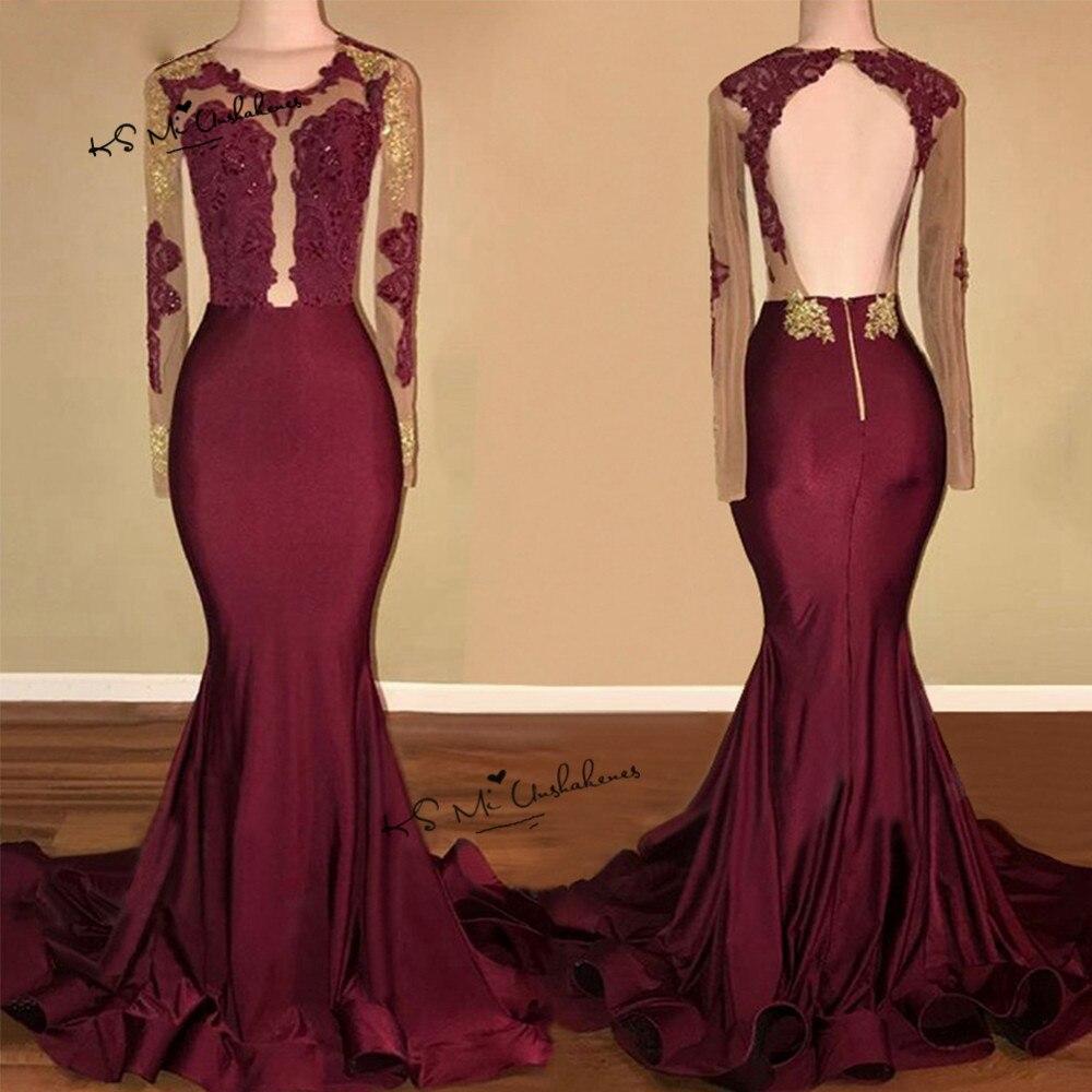 Robe de soirée Longue 2018 sirène formelle robes de soirée bordeaux à manches longues Robe de bal Sexy dos nu or dentelle Satin Robe - 3