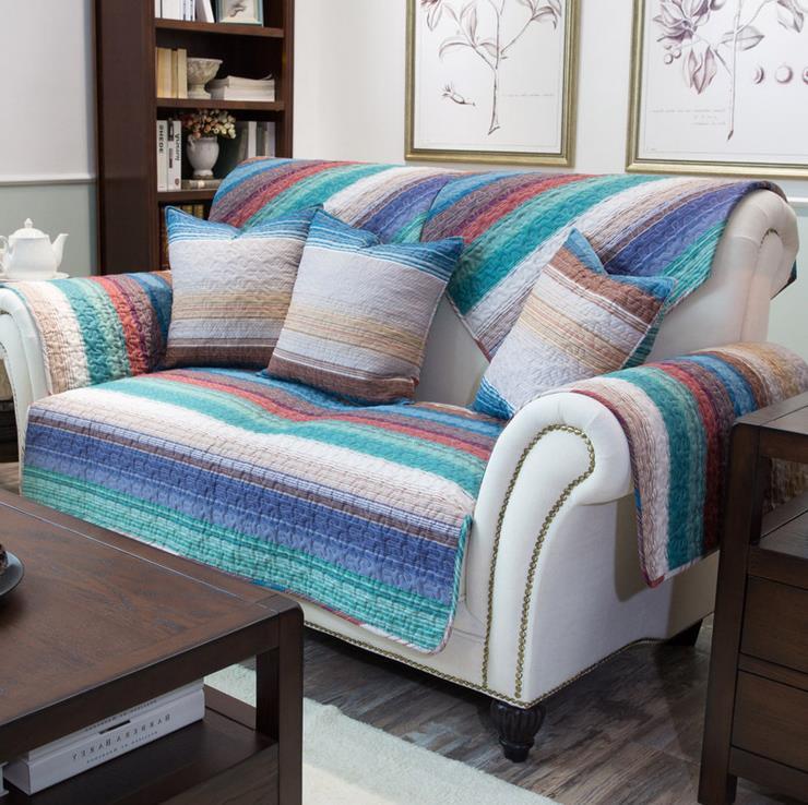 1 piece cotton Fabric Sofa Cover Stripe Printing Soft