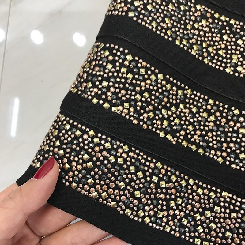 Mode Qualité Golden Élastique Femmes Robe Pour Robes Bretelles Sexy Bandage Boule Rayonne Strass Partie Haute Filles 1xqTwr1C