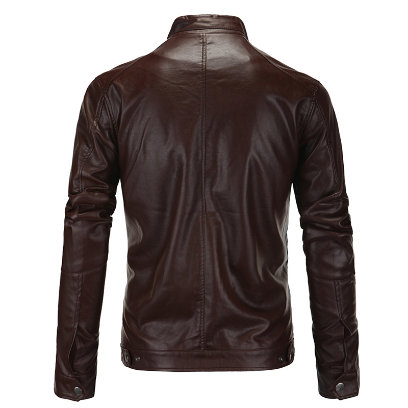PU Leather Jacket Men Slim Fit Coat Stand Collar Zipper 2019 Spring Autumn Jackets Solid Color Casual Leather Coat Black HN61 in Faux Leather Coats from Men 39 s Clothing