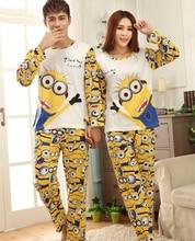 Миньоны печатных наборы пара длинным пижамы женские мужские рукавом хлопок и