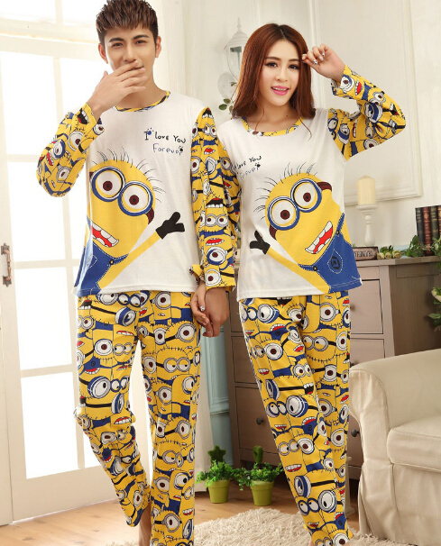 Couple Pajama Sets Long Sleeve Sleepwear 2017 New Mens Womens Minions Printed 100 Cotton Free Shipping