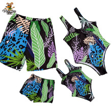 Family Matching Swimsuit Summer Beach Holiday Blue Leaf Print Mommy And Me Swimsuit Dad And Son Swimwear Shorts mesh insert open back leaf print swimsuit
