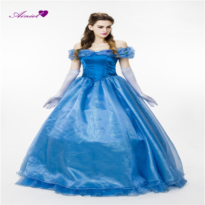 Halloween Cosplay Party Princess  Cinderella Adult Costume Blue Ball Gowns Princess Blue summer Dress for women and girl