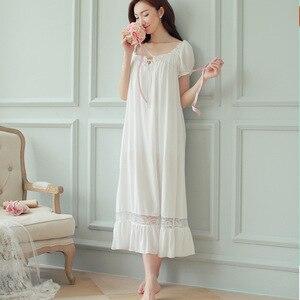 Image 5 - קיץ נשים כותנות לילה לבן כותנה קצר שרוול כותונת בציר ארוך הלבשת תחרה סקסית Nightwear בית לילה שמלת 2020