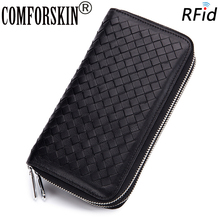 COMFORSKIN Sheepskin Double Compartment Men Purses Genuine Leather RFID Protection Knitting Multi-Card Bit Card Wallets