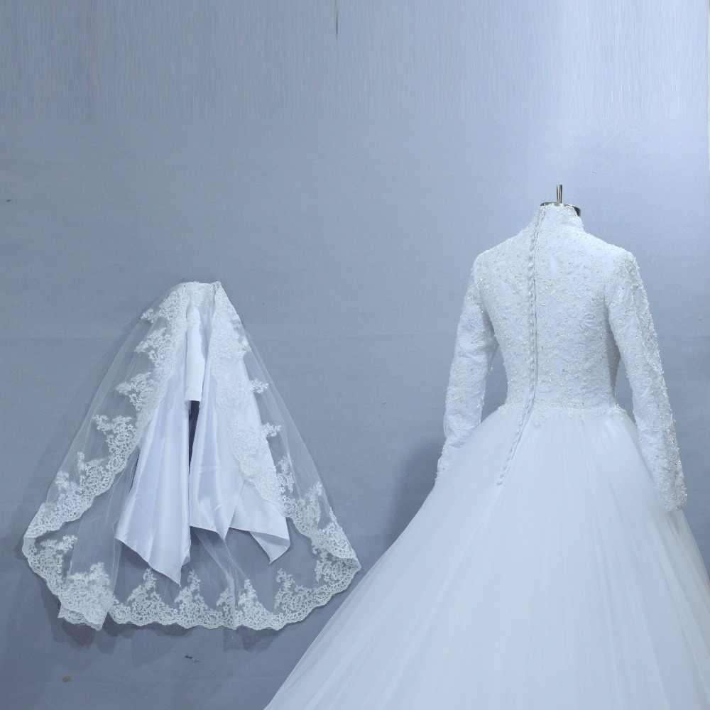С длинными рукавами Потрясающие Роскошные цветы свадебное платье мусульманское 2019 реальные фотографии 100% хорошего качества материал с вуалью