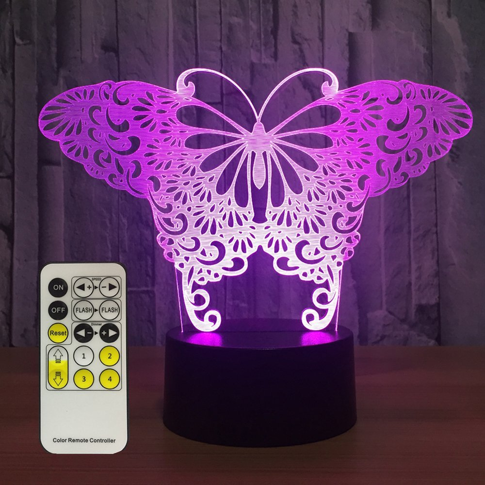 Night Light Butterfly 3d Night Lights 7 Colors Changing with Remote Night Lights for Kids Room Decor or Perfect Birthday Gift