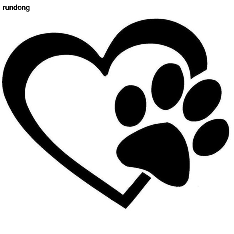 f669ef4292924 ᑎ‰القلب مع الكلب باو جرو الحب صائق نافذة ملصق للسيارات والجدران - w24