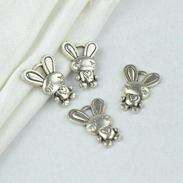 30Pcs metal rabbit Charm vintage Tibetan Silver Pendant Jewelry Products Charms Diy Pendants For Necklace Bracelets 2135