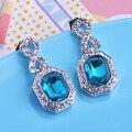 Azul brilhante de Cristal Austríaco Brincos Para As Mulheres Da Marca Do Parafuso Prisioneiro Brincos Grandes Pendientes Aretes Orelhas Mulheres Colares Bijuterias Agradável