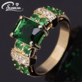 Wholesale women gold  ring Female Green stone  IP Gold plated Jewelry vintage Ring Engagement Rings for women