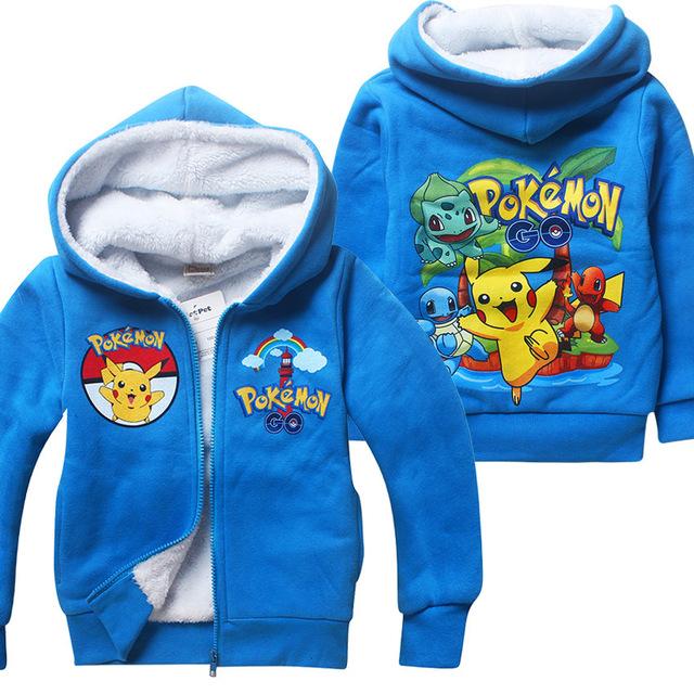 Inverno camisola de Algodão POKEMON IR Pikachu Crianças roupas das meninas dos meninos hoodies manga longa com zíper casaco de mangas Compridas T-shirt