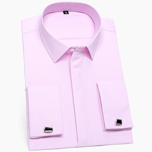 Men's Classic French Cuffs Solid Dress Shirt Covered Placket Formal Business Standard-fit Long Sleeve Shirts (Cufflink Included) 8