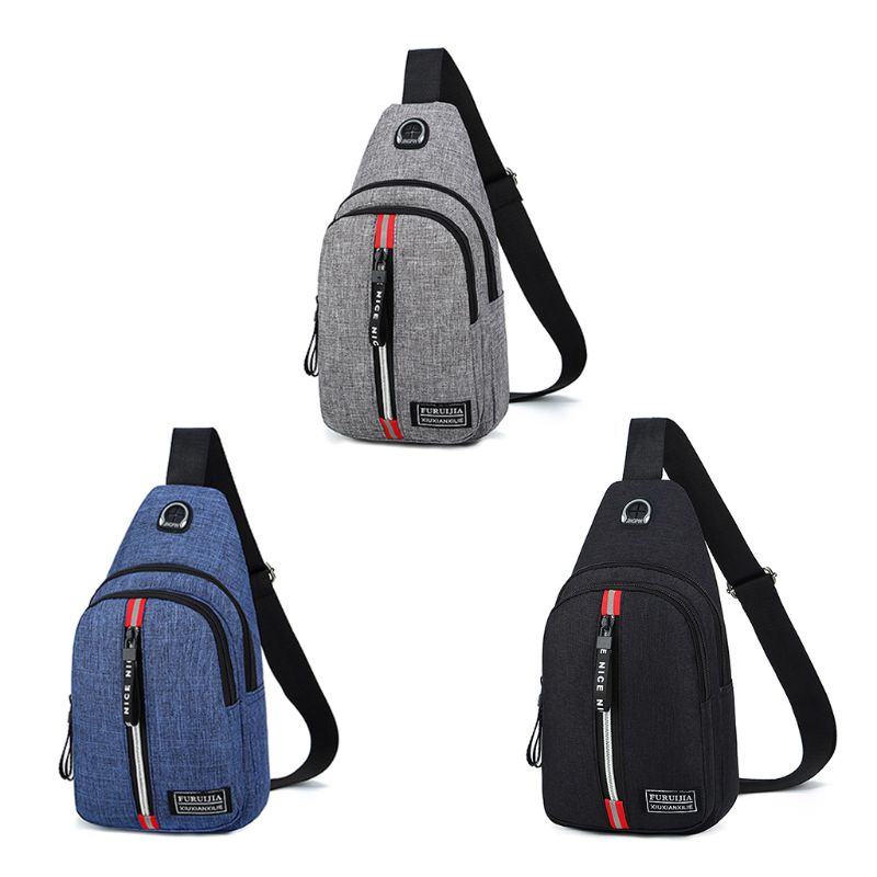 Men Fashion Outdoor Sport Sling Shoulder Small Bag With Earphone Hole Multifunction Crossbody Chest Pack