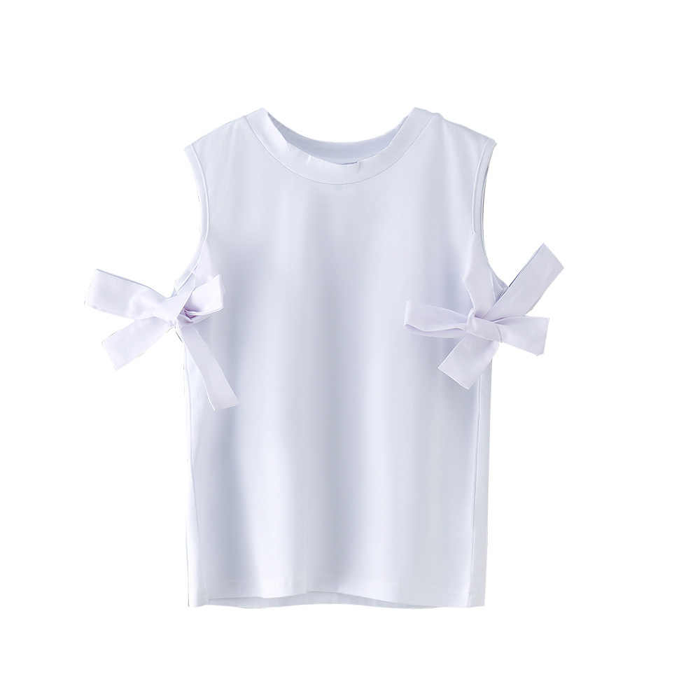 girls t-shirts summer casual cotton solid t-shiirt kids girl o-neck white bow girl shirt 8 10 12 14 16 year children's clothing