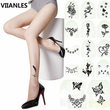 VIIANLES Print Pantyhose Feather Butterfly Floral Fashion Sexy Tights Transparent Stocking Girl Women tight