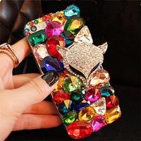 For IPhone 5 5S 6 6S 7 Plus Luxury Fashion Colorful Diamond Crystal Rhinestone Fox Head