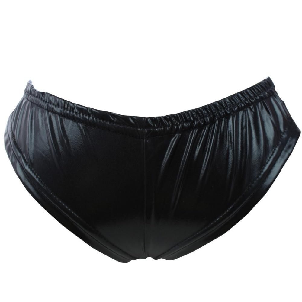 iEFiEL Womens Patent Leather Sexy Briefs Bikini Jockstraps Underwear Underpants T-back Sexy Panties for Womens One Size
