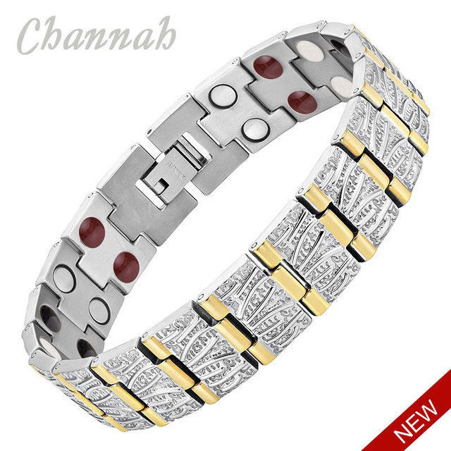 Channah 2017 Men 4in1 2-Tone Gold Silver Bracelet Titanium Magnets -ve Ions Germanium Far Infra Red Bangle Wristband Charm