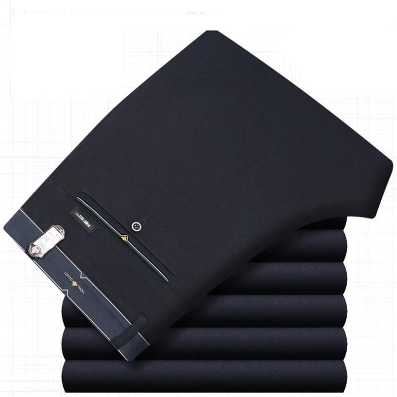 ICPANS Mens Trouser Office Formal Business Smart Suit Pants Men Polyester Cotton Classic Wedding Dress Pants Men Black Blue 2019