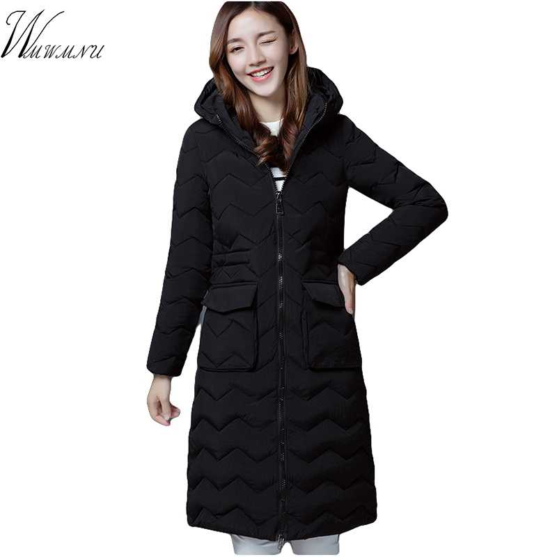 wmwmnu fashion slim warm winter jacket   Parka   women 2017 long Thick cotton Warm long Female jacket hood women winter coat   parkas