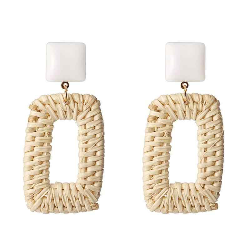 แฟชั่นไม้ไผ่หวายฟางสานต่างหูผู้หญิง Handmade สี่เหลี่ยมผืนผ้ายาว Drop Dangle ต่างหูหญิงเครื่องประดับ Brincos