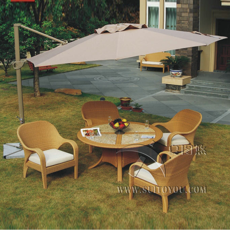 5 pcs Modern Luxury Wicker Rattan Garden Dining Sets With Aluminum Frame transport by sea rattan dining room sets with cushion and tempered glass page 6