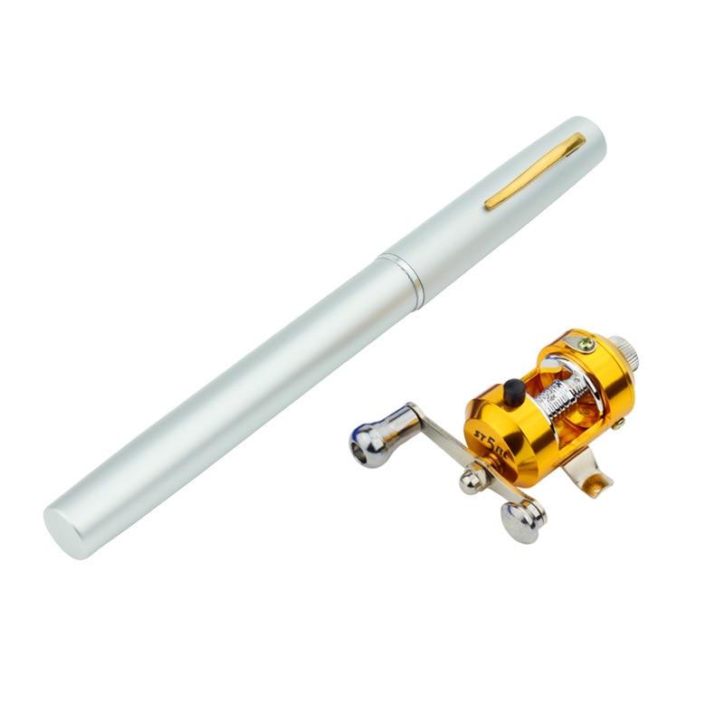 Mini Ice Fishing Rod Pen Fishing Rod Reel Combo Set Telescopic Pocket Fishing Rod Pole + Reel Aluminum Alloy Fishing Line
