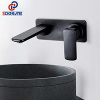 SOGNARE Black Matte Brass Wall Mounted Basin Faucet Single Handle Mixer Tap Hot and Cold Water Vanity Sink Mixer Tap Waterfall