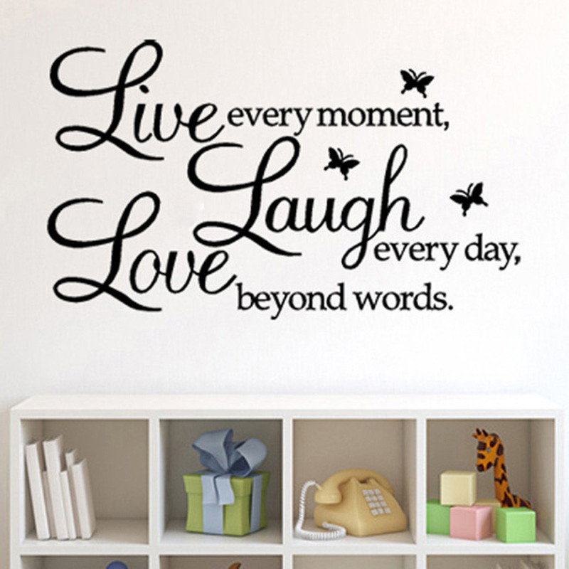 Live Laugh Love Words Letter Butterfly Wall Stickers Diy Removable