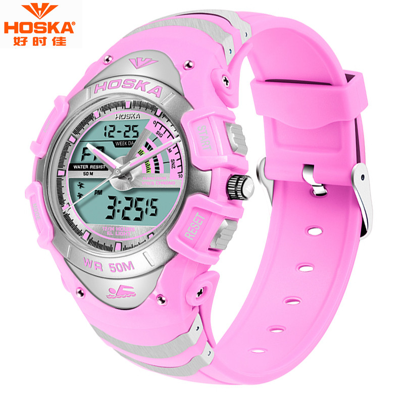HOSKA Dual Display Wristwatches 2016 Women 50M Waterproof Digital Quartz Watch Men s Military Sports Watch