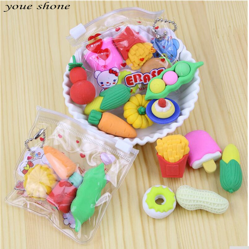 1 Sets Bags Elastic Cartoon Vegetables And Fruits Fries Hot Dog Modeling Rubber  Material Escolar School Supplies