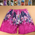 2016 Summer 100% Mulberry Silk Print Casual Women Pants Pure Silk Beach Plus Size Loose Lounge Men Shorts FREE SHIPPING