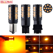 2X LED Car Bulb Canbus No Error Hyper Flash Turn Signal Light Amber Orange 1156 BA15S P21W BAU15S PY21W T20 7440 W21W WY21W 3156 2pcs turn signal light 1156 ba15s bau15s 7507 7440 led no hyper flash amber 144smd t20 w21w canbus led bulbs