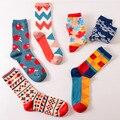 Color hombres/mujeres crew algodón happy socks estilo británico informal diseñador de la marca de moda de harajuku novedad arte para pareja divertido