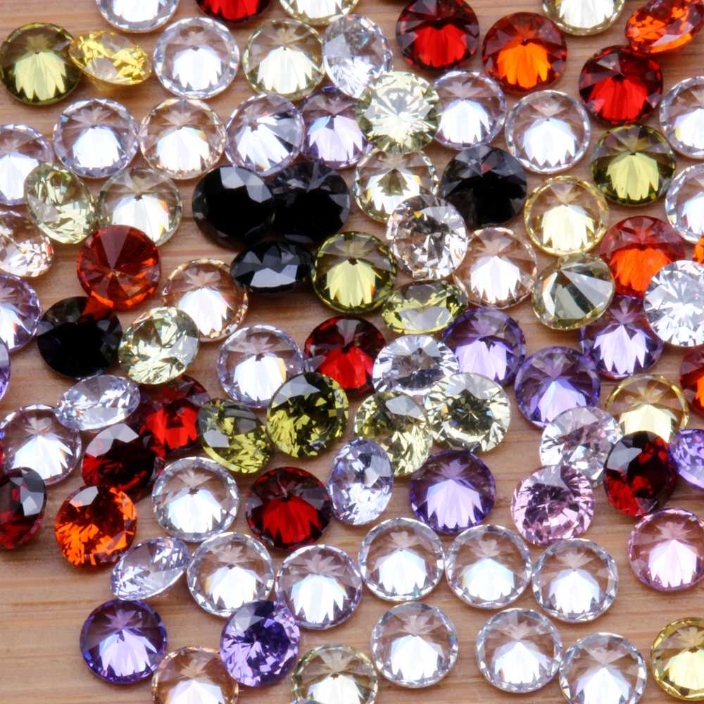 100pcs 1-4mm 5A Round Beads Cut CZ Stone Brilliant Many Color To Choose Cubic Zirconia Synthetic Gems stone
