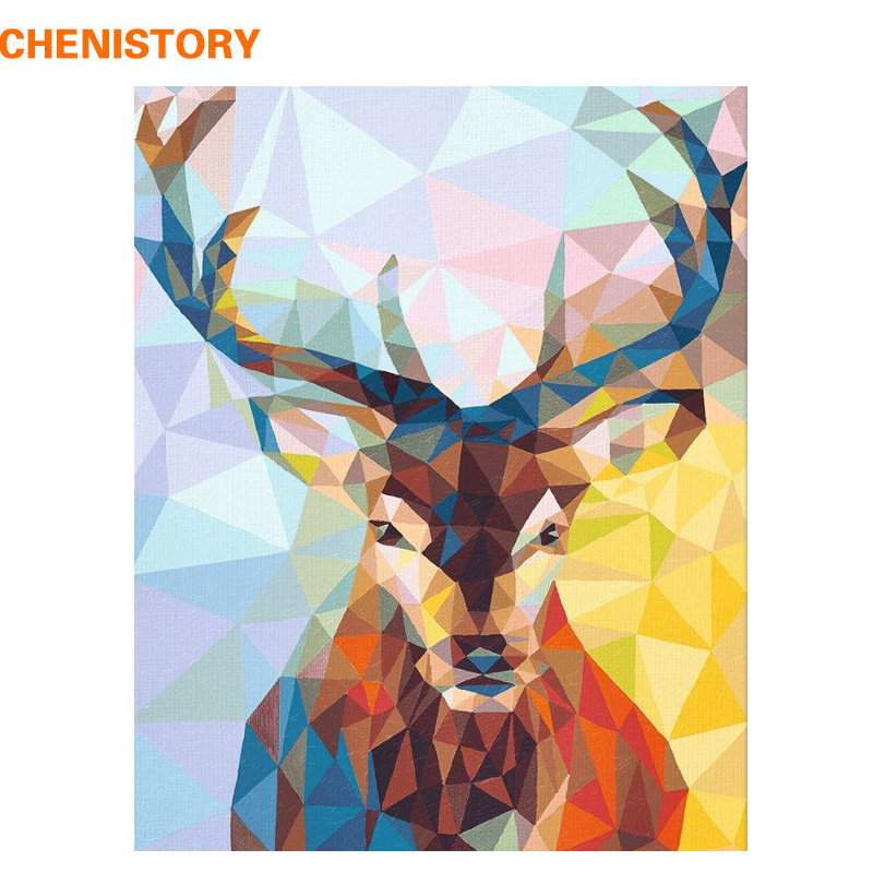 CHENISTORY Frameless Deer Animals DIY Painting By Numbers Wall Art Picture HandPainted Oil Painting For Home Decor Artwork 40x50