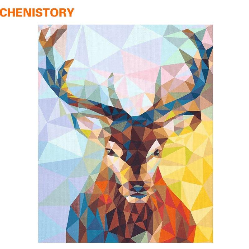 CHENISTORY sin marco ciervos animales DIY pintura por números pared arte cuadro pintado a mano pintura al óleo para decoración del hogar arte 40x50
