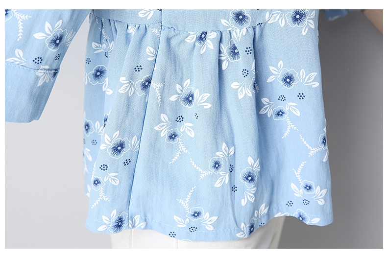 Yellow Manga Amarillo Flores Verano Azul 3 Suelto Coreano Falda Estilo Preppy Blusa Blusas blue Señoras Impresión De 4 Mujer Camisa wnZUnAgWq