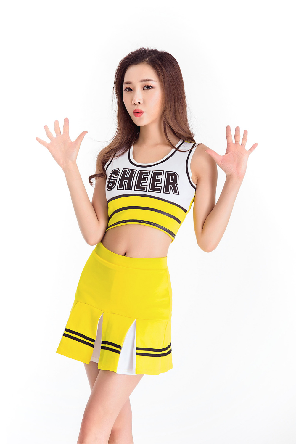 2018 Female Sexy High School Cheerleader Costume Sport Cheer Girls Uniform Costume Tops With Skirt S M L XL
