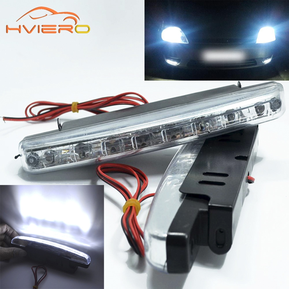 2Pcs Auto Durable Car Daytime Running Light 8 LED DRL Daylight Super White DC 12V 24V Head Lamp Parking Bulb Fog Lights 1pcs h1 led good 80w white car fog lights daytime running bulb auto lamp vehicles h1 led high power parking car light source