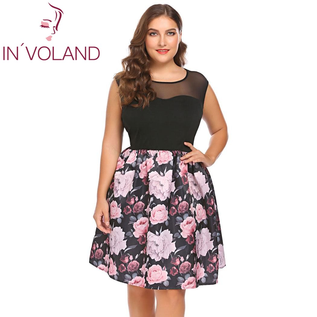 f10387bb1a35f IN'VOLAND Plus Size XL-5XL Women Vintage Dress Sleeveless Floral Patchwork  Party Feminino Large A-Line Dresses Vestidos Big Size