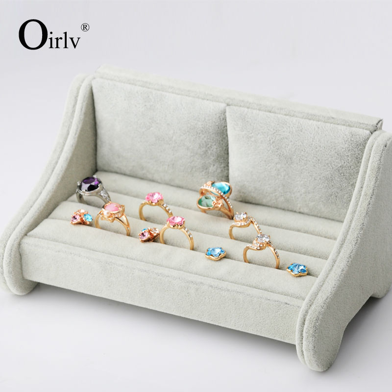 Oirlv Free Shipping Silver Gray Color Sofa Shape Velvet Jewelry Display Stand Ring Holder For Counter