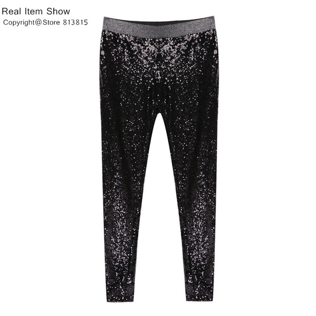 Colysmo Sequin Trousers Women Sparkle Metallic Pants Women Sequin Pants Skinny Woman Trousers Stretch Pencil Pants High Waist