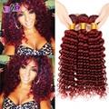 7a grado malasio rojo 99j profundo curly hair extension virgen 4 pcslot rojo burdeos pelo rizado profundo tejer para mujer moda sexy