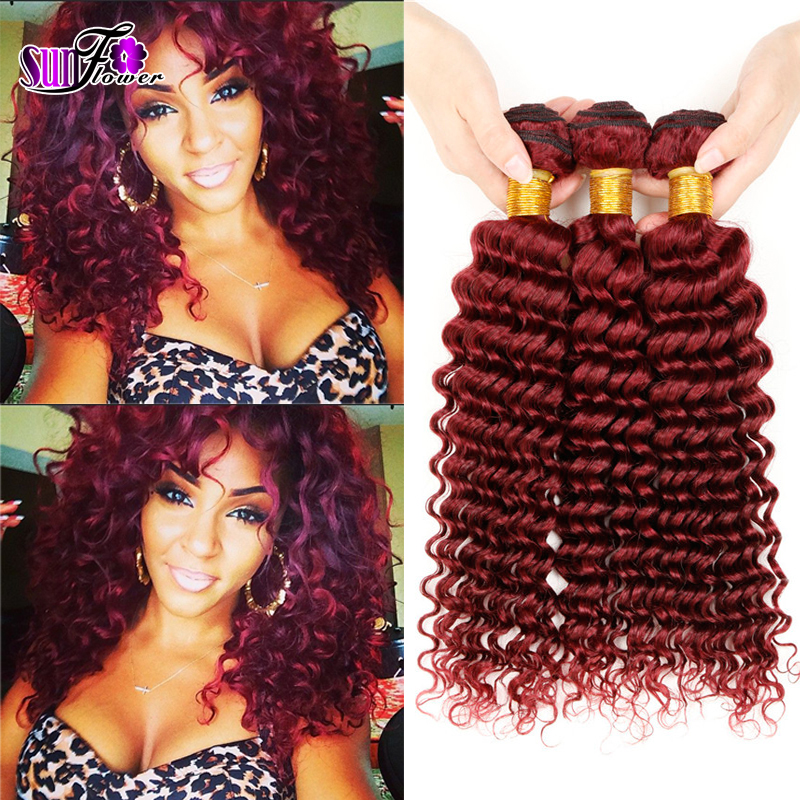 Grade 7a malaysian red 99j deep curly virgin hair extension 4pcslot burgundy Deep weaving for sexy fashion woman